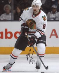 "Nick Leddy Chicago Blackhawks Autographed 8"" x 10"" White Uniform Skating Photograph"
