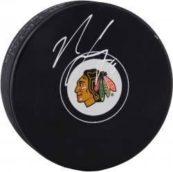 Nick Leddy Chicago Blackhawks Autographed Team Logo Puck - Mounted Memories