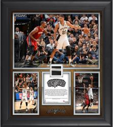 "Tim Duncan San Antonio Spurs NBA Career Leader in Playoff Double-Doubles Framed 15"" x 17"" Collage with Piece of Game-Used Jersey-Limited Edition of 250"