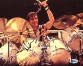 "Nicko McBrain Autographed 8"" x 10"" Iron Maiden Playing The Drums Photograph - Beckett COA"