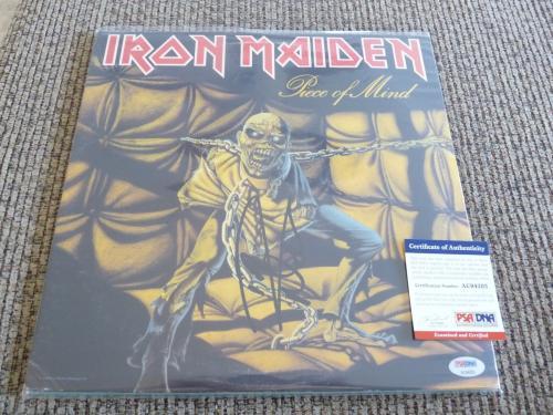 Nicko McBrain Iron Maiden Autographed Signed Piece Mind LP Album PSA Certified