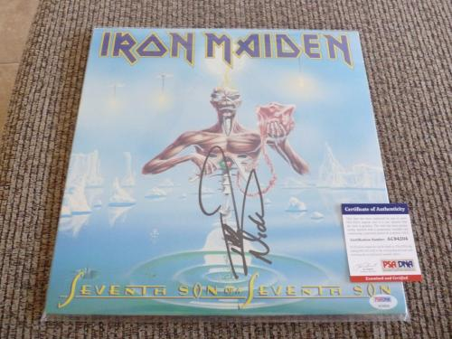 Nicko McBrain Iron Maiden Autographed Signed Seventh Son LP Album PSA Certified