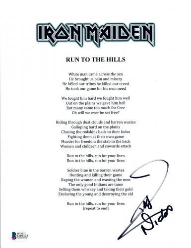 Nicko McBrain Signed Autograph Iron Maiden RUN TO THE HILLS Lyric Sheet BAS COA