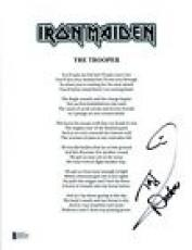 Nicko McBrain Signed Autograph Iron Maiden THE TROOPER Lyric Sheet BAS COA