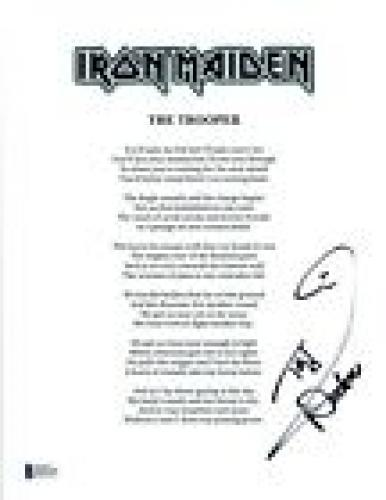 Nicko McBrain Signed Autograph Iron Maiden THE TROOPER Lyric Sheet BAS COA