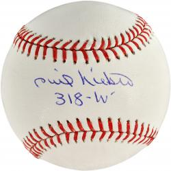 Phil Niekro Atlanta Braves Autographed Baseball with 318 Wins Inscription - Mounted Memories