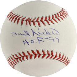 Phil Niekro Atlanta Braves Autographed Baseball with HOF 97 Inscription - Mounted Memories