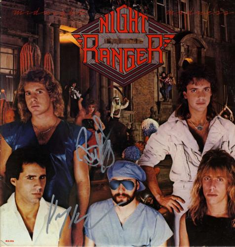 Night Ranger Autographed X2 Midnight Madness Album Lp UACC RD COA AFTAL