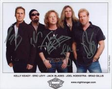 NIGHT RANGER HAND SIGNED 8x10 COLOR PHOTO+COA       SIGNED BY WHOLE BAND