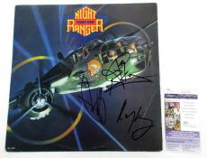 Night Ranger Signed LP Record Album 7 Wishes w/ 3 JSA AUTOS