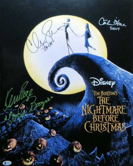 Nightmare Before Christmas Cast Signed Autographed 16X20 Photo  Beckett COA