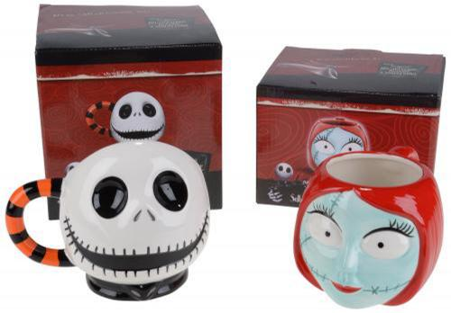 Nightmare Before Christmas Jack and Sally 2 PC Sculpted Mug Set