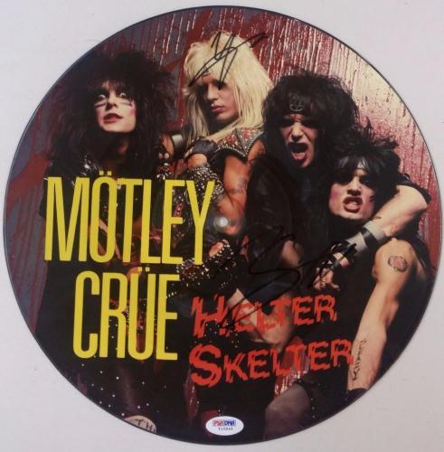 Nikki Sixx Vince Neil Signed Motley Crue Helter Skelter Record Album PSA Auto