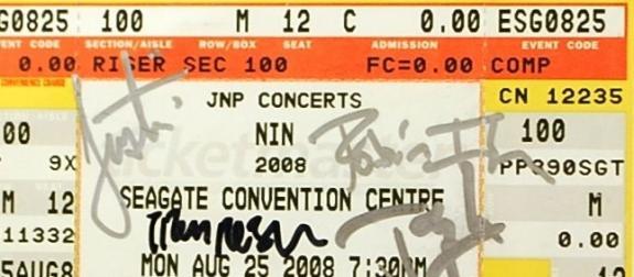 Nine Inch Nails Trent Reznor Band Signed Autograph PSA/DNA Authentic Ticket Stub