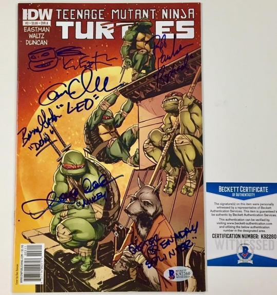 Ninja Turtles TMNT Kevin Eastman + Cast (6) Signed Comic Book + Sketch ~ BAS COA