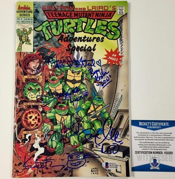 Ninja Turtles TMNT Kevin Eastman + Cast (6) Signed Comic Book w/ Sketch ~BAS COA