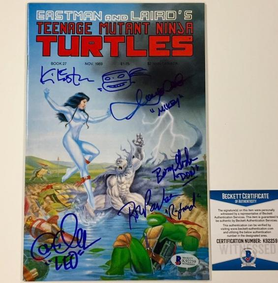 Ninja Turtles TMNT Kevin Eastman + Cast Signed Comic Book w/ Sketch ~ BAS COA