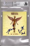 NIRVANA Kurt Cobain, Grohl & Novoselic Signed IN UTERO CD Cover Beckett BAS Slab