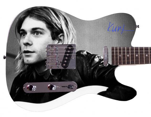 Nirvana Kurt Cobaine Facsimile Signature  Custom Graphics Guitar