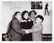 NITA BIEBER HAND SIGNED 8x10 PHOTO+COA     RARE POSE WITH 3 STOOGES TO MICHAEL
