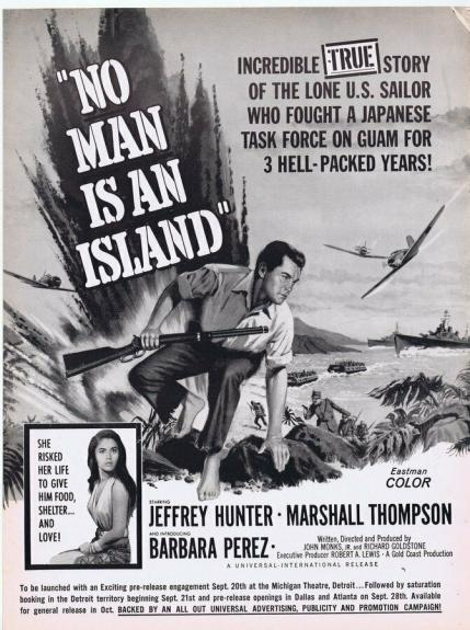 No Man Is An Island ORIGINAL Vintage 1962 9x12 Industry Ad Poster Jeffrey Hunter