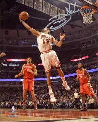 """Joakim Noah Chicago Bulls Autographed 8"""" x 10"""" Rebounding White Uniform Photograph"""