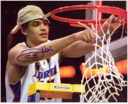 "Joakim Noah Florida Gators Autographed 16"" x 20"" Cutting Net Blue Ink Photograph - Mounted Memories"