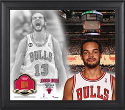 "Joakim Noah Chicago Bulls Framed 15"" x 17"" Mosaic Collage with Team-Used Basketball-Limited Edition of 99"