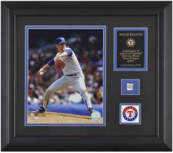 "Nolan Ryan Texas Rangers Framed 8"" x 10"" Photograph with Game-Used Baseball Piece & Descriptive Plate - Limited Edition of 500 - Mounted Memories"