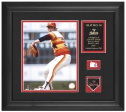 "Nolan Ryan Houston Astros Framed 8"" x 10"" Photograph with Game-Used Baseball Piece & Descriptive Plate - Limited Edition of 500 - Mounted Memories"