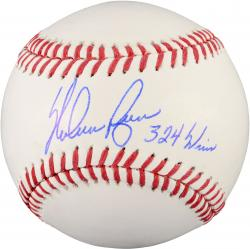 Nolan Ryan Texas Rangers Autographed Baseball with 324 Wins Inscription - Mounted Memories