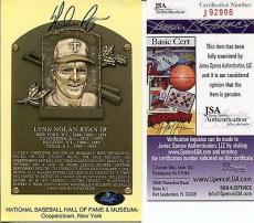 Nolan Ryan Hand Signed Gold Hall Of Fame Plaque+coa       Ryan Hologram+jsa Coa