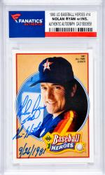 Nolan Ryan Houston Astros Autographed 1990 Upper Deck Baseball Heroes #14 Card with 5th No Hitter 9/26/1981Inscription
