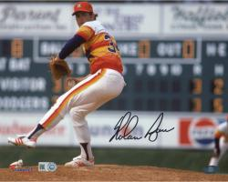 """Nolan Ryan Houston Astros Autographed 8"""" x 10"""" Pitching with Leg in Air Photograph"""