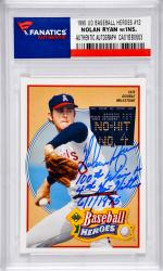 Nolan Ryan New Anaheim Angels Autographed 1990 Upper Deck Baseball Heroes #12 Card with 100th Win & 4th No Hitter 6/1/1976 Inscription