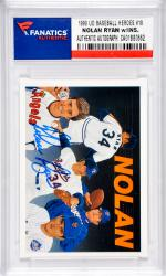 Nolan Ryan Texas Rangers-Anaheim Angels-New York Mets-Houston Astros Autographed 1990 Upper Deck Baseball Heroes #18 Card