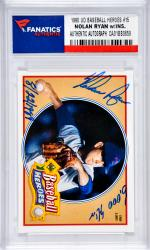 Nolan Ryan Texas Rangers Autographed 1990 Upper Deck Baseball Heroes #15 Card with 5,000 K's 8/22/1989 Inscription