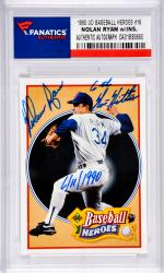 Nolan Ryan Texas Rangers Autographed 1990 Upper Deck Baseball Heroes #16 Card with 6th No Hitter 6/11/1990 Inscription