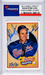 Nolan Ryan Texas Rangers Autographed 1990 Upper Deck Baseball Heroes #17 Card with 300th Win 7/31/90 Inscription