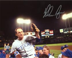 "Nolan Ryan Texas Rangers Autographed 8"" x 10"" Hoisted on Shoulders Photograph"