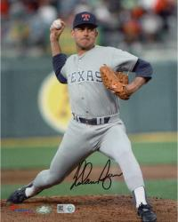 "Nolan Ryan Texas Rangers Autographed 8"" x 10"" Pitching in Gray Uniform with Ball in Hand Photograph"