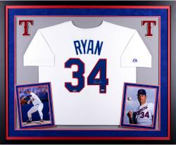 Nolan Ryan Texas Rangers Autographed Deluxe Framed Cooperstown Collection Jersey