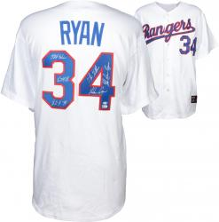 Nolan Ryan Texas Rangers Autographed Majestic Replica Jersey with Multiple Inscriptions