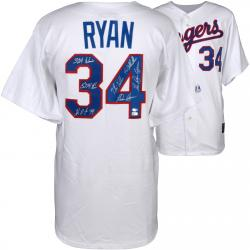 Nolan Ryan Texas Rangers Autographed Majestic Replica Jersey with Multiple Inscriptions - Limited Edition #2-33 of 34