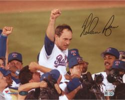 "Nolan Ryan Texas Rangers Autogrphaed 8"" x 10"" No Hitter Celebration with Arm in Air Photogrpah"