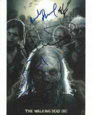 Norman Reedus +4 Cast Signed The Walking Dead 8x10 Photo PSA/DNA COA Steven Yeun