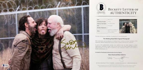 Norman Reedus Andrew Lincoln S. Wilson Signed 'The Walking Dead' 11x14 Photo BAS
