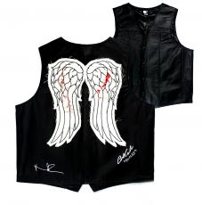 "Norman Reedus & Austin Amelio Signed Walking Dead Angel Wing Vest With ""Dwight"" Inscription"