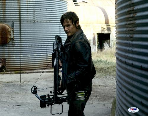 "Norman Reedus Autographed 11"" x 14"" The Walking Dead Holding Crossbow - PSA/DNA COA"