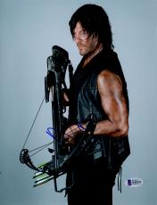 "Norman Reedus Autographed 8"" x 10"" Holding Crossbow Down Photograph - Beckett COA"